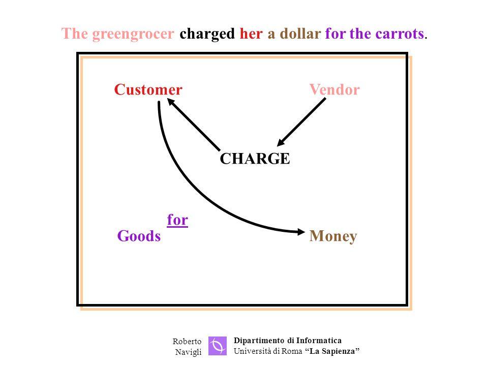 Dipartimento di Informatica Università di Roma La Sapienza Roberto Navigli CustomerVendor GoodsMoney CHARGE for The greengrocer charged her a dollar for the carrots.