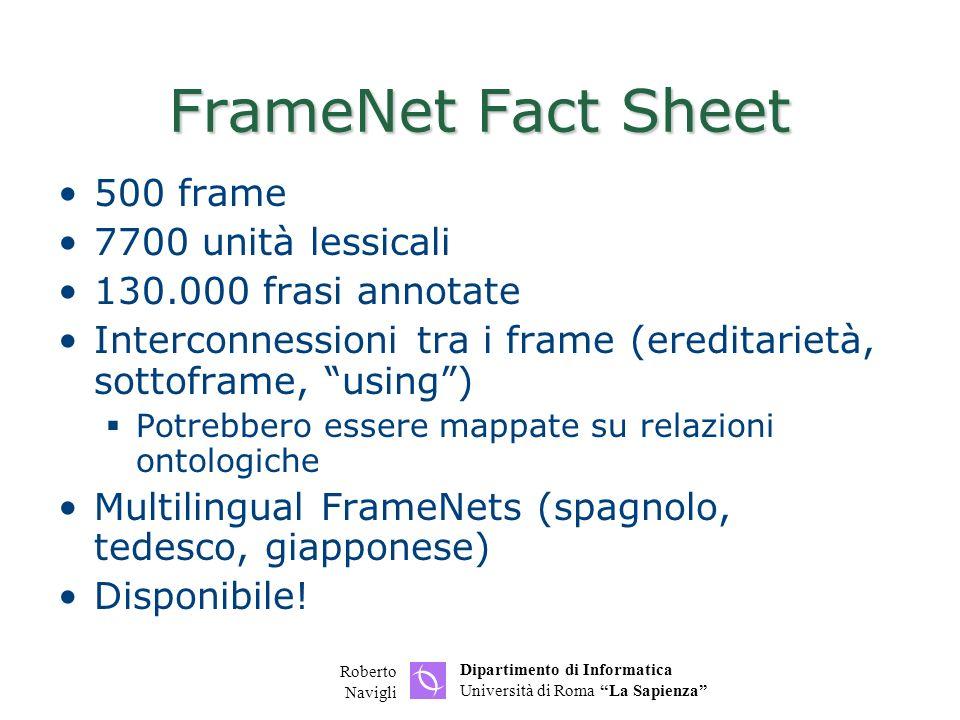Dipartimento di Informatica Università di Roma La Sapienza Roberto Navigli FrameNet Fact Sheet 500 frame 7700 unità lessicali 130.000 frasi annotate Interconnessioni tra i frame (ereditarietà, sottoframe, using) Potrebbero essere mappate su relazioni ontologiche Multilingual FrameNets (spagnolo, tedesco, giapponese) Disponibile!