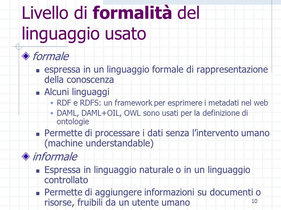 9 Criteri per classificare le annotazioni Livello di formalità del linguaggio usato Posizionamento dellannotazione Destinatario dellannotazione Tipo d