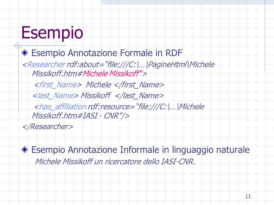 10 Livello di formalità del linguaggio usato formale espressa in un linguaggio formale di rappresentazione della conoscenza Alcuni linguaggi RDF e RDF