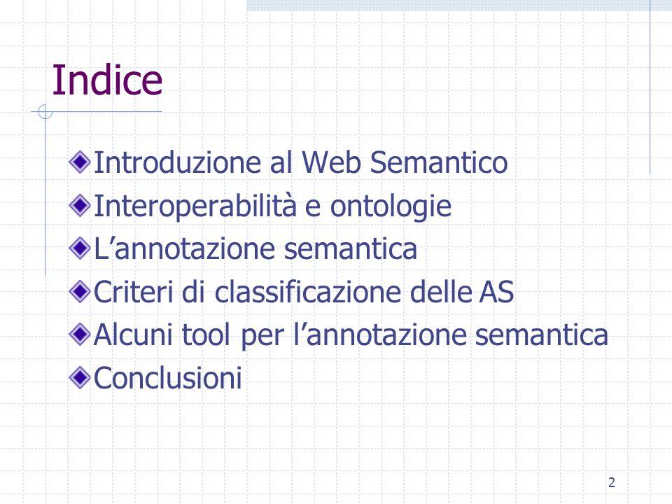 2 Indice Introduzione al Web Semantico Interoperabilità e ontologie Lannotazione semantica Criteri di classificazione delle AS Alcuni tool per lannotazione semantica Conclusioni