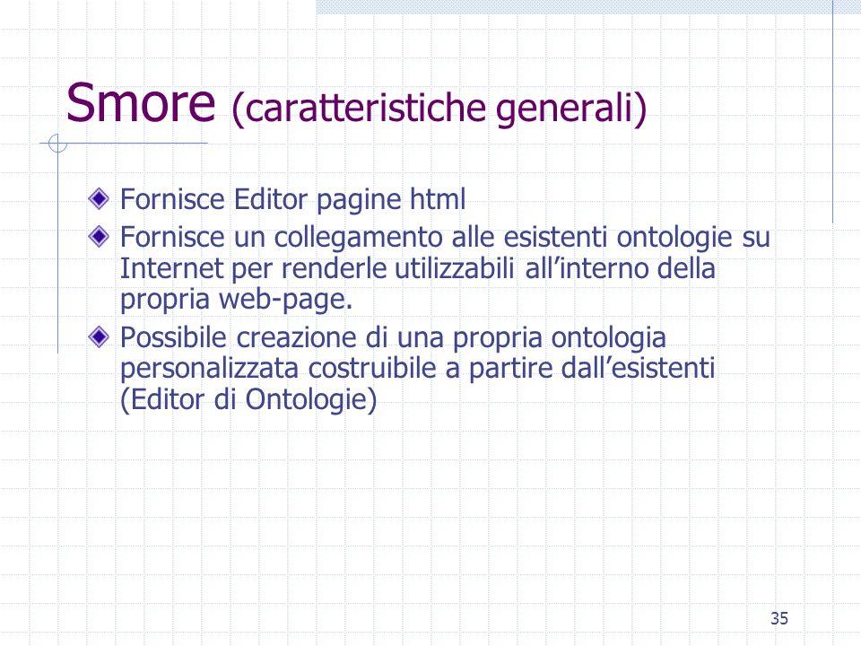 34 Pro e contro di MNM (2) CONTRO Struttura ontologia è poco intuitiva Presuppone conoscenza dell RDF da parte dellutente Impone vincoli sulla visuali