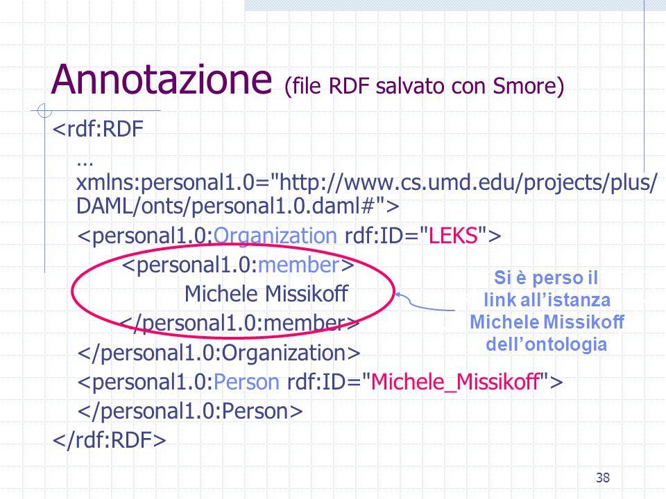 37 Smore Input: ontologia in RDF, DAML, DAML+OIL, OWL Pagina html Output file dataset proprietario (.dat) (rappresentante la struttura usata per annot