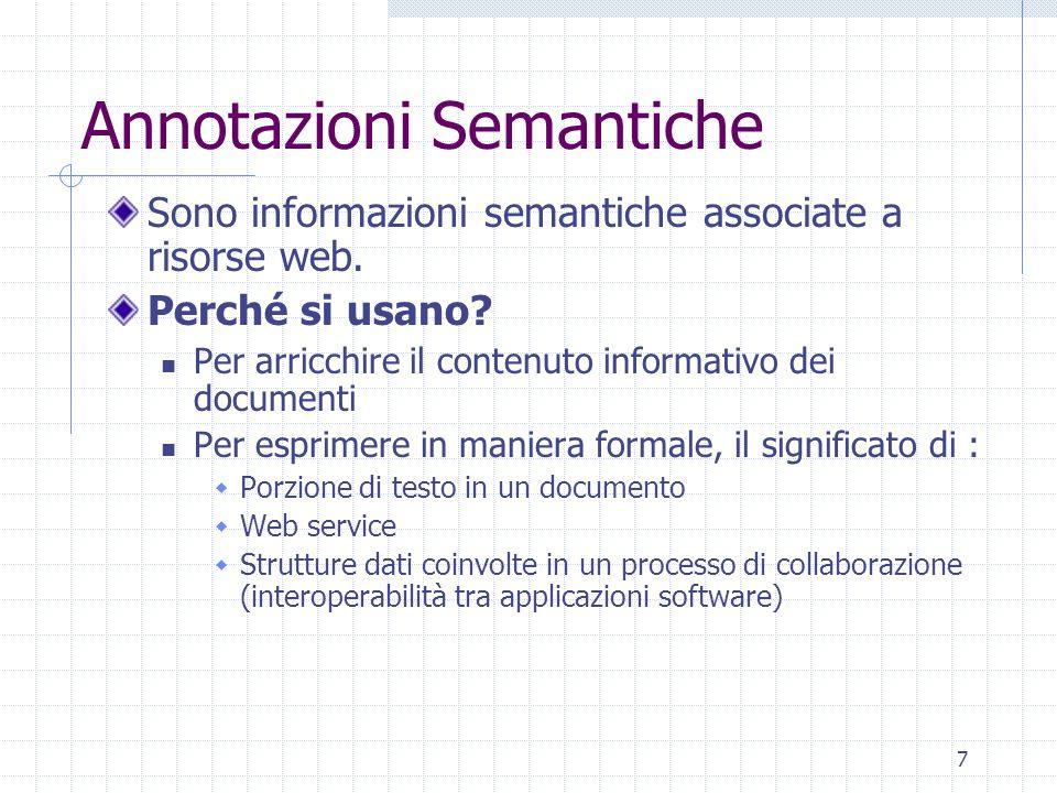 7 Annotazioni Semantiche Sono informazioni semantiche associate a risorse web.