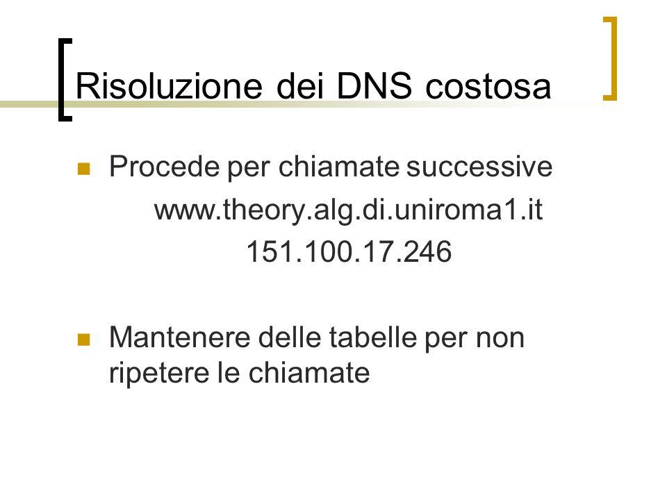Risoluzione dei DNS costosa Procede per chiamate successive www.theory.alg.di.uniroma1.it 151.100.17.246 Mantenere delle tabelle per non ripetere le c