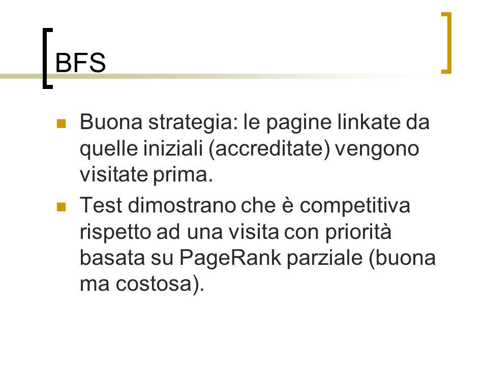 BFS Buona strategia: le pagine linkate da quelle iniziali (accreditate) vengono visitate prima. Test dimostrano che è competitiva rispetto ad una visi