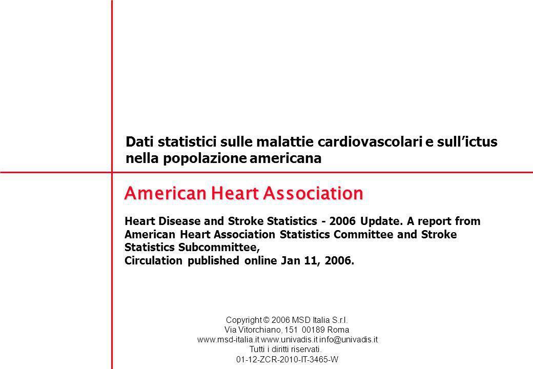 Dati statistici sulle malattie cardiovascolari e sullictus nella popolazione americana American Heart Association Heart Disease and Stroke Statistics - 2006 Update.