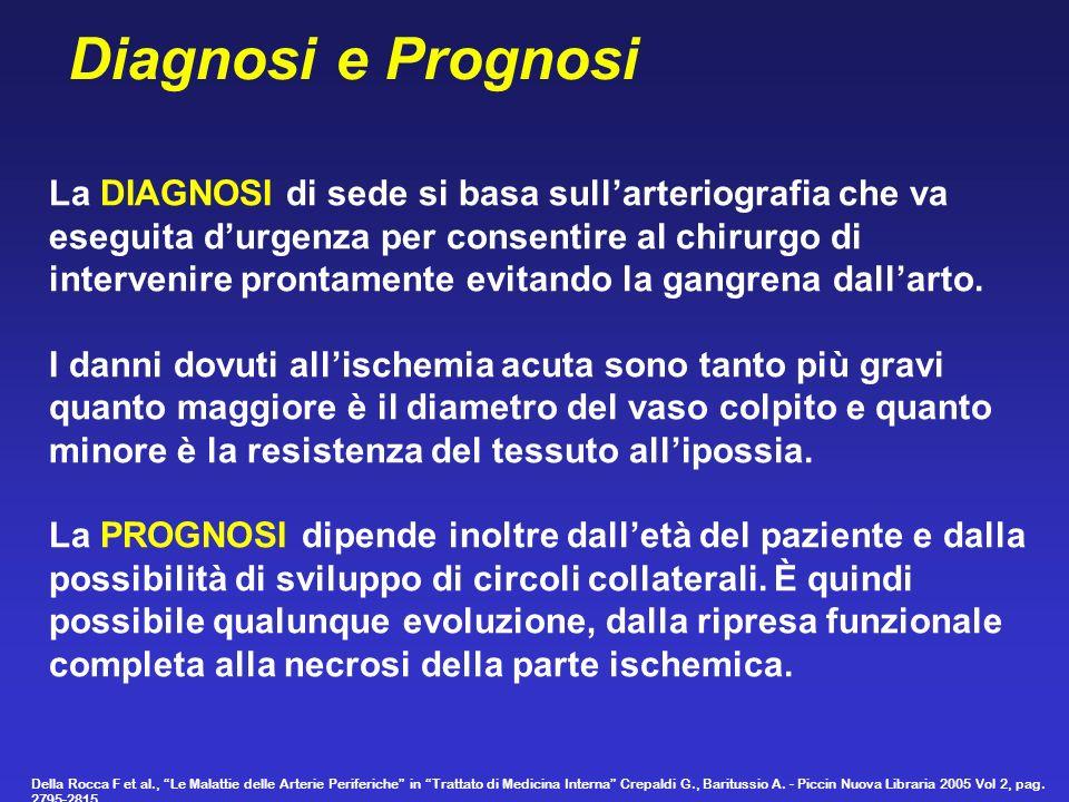 La DIAGNOSI di sede si basa sullarteriografia che va eseguita durgenza per consentire al chirurgo di intervenire prontamente evitando la gangrena dall