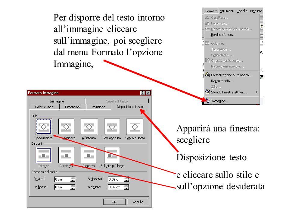 Per disporre del testo intorno allimmagine cliccare sullimmagine, poi scegliere dal menu Formato lopzione Immagine, Apparirà una finestra: scegliere Disposizione testo e cliccare sullo stile e sullopzione desiderata