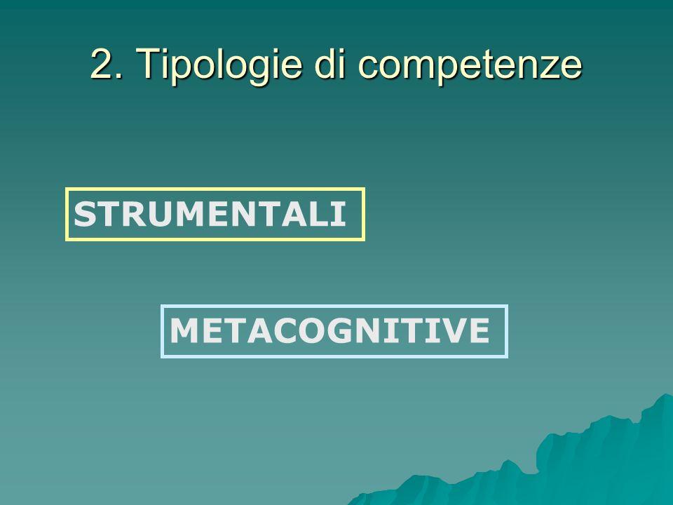 2. Tipologie di competenze STRUMENTALI METACOGNITIVE
