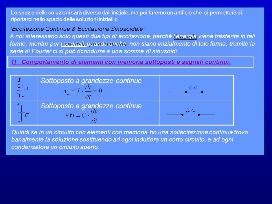 Metodo dei Fasori Il nostro obbiettivo è estendere i metodi generali a sistemi con elementi reattivi.
