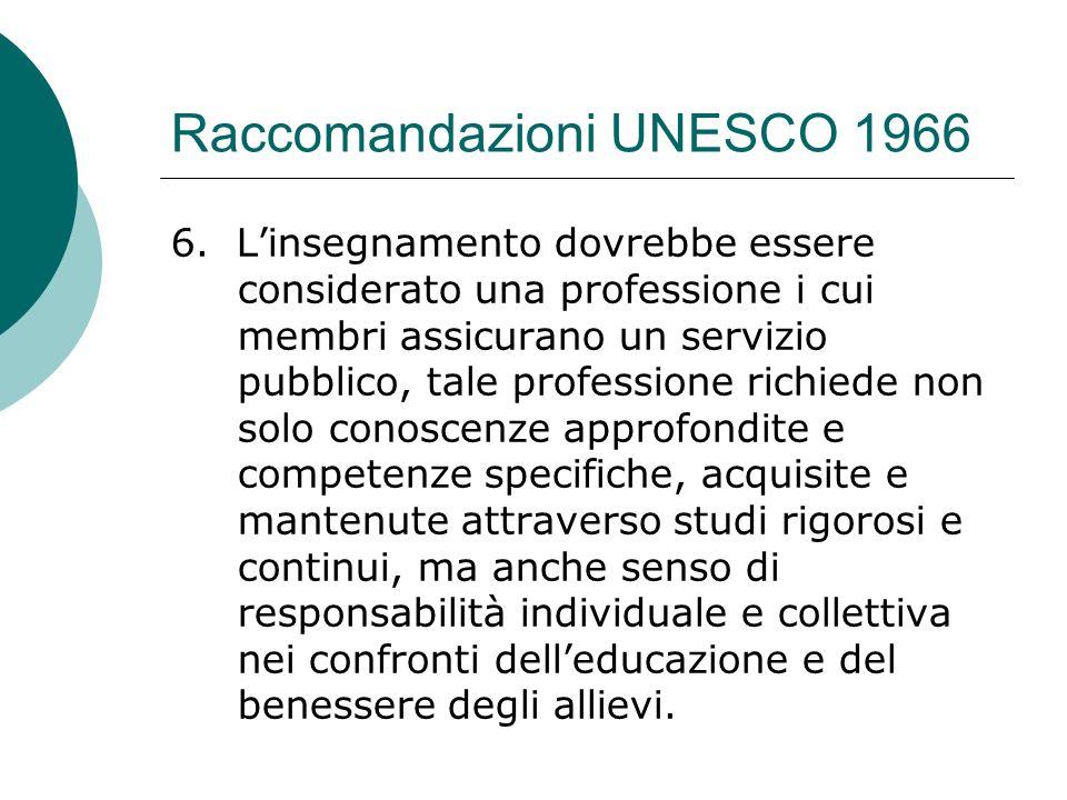 Raccomandazioni UNESCO 1966 6. Linsegnamento dovrebbe essere considerato una professione i cui membri assicurano un servizio pubblico, tale profession