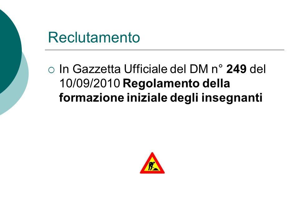 Reclutamento In Gazzetta Ufficiale del DM n° 249 del 10/09/2010 Regolamento della formazione iniziale degli insegnanti