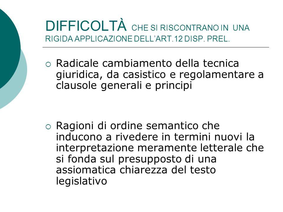 DIFFICOLTÀ CHE SI RISCONTRANO IN UNA RIGIDA APPLICAZIONE DELLART.12 DISP.