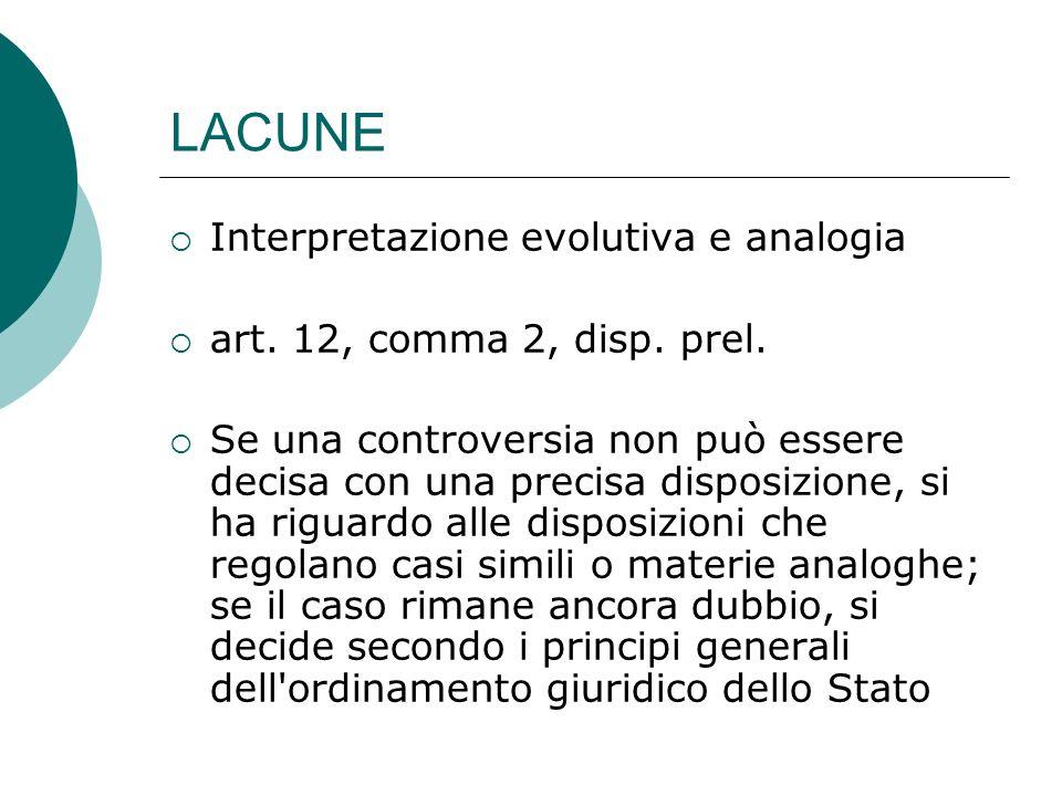 LACUNE Interpretazione evolutiva e analogia art. 12, comma 2, disp. prel. Se una controversia non può essere decisa con una precisa disposizione, si h