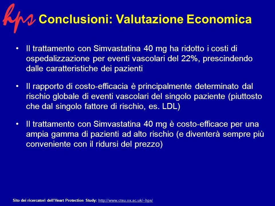 Sottostima del vantaggio economico e necessità di ulteriori analisi Le analisi effetuate probabilmente sottostimano i benefici complessivi del trattamento a lungo termine con simvastatina.
