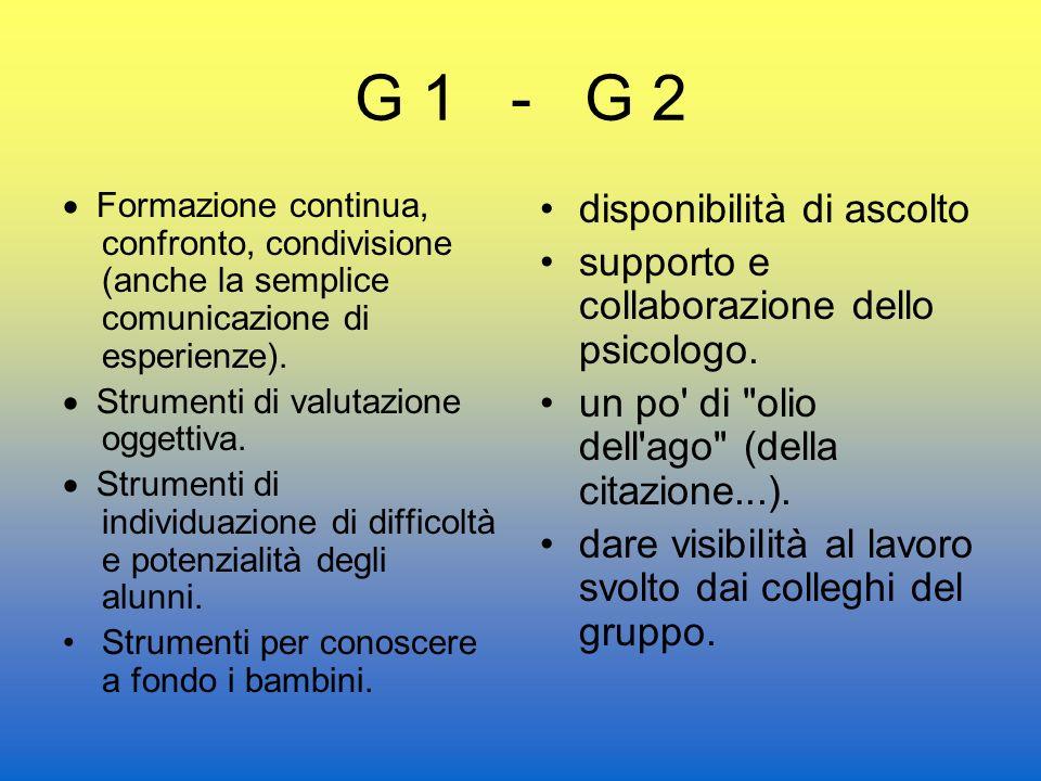 G 1 - G 2 Formazione continua, confronto, condivisione (anche la semplice comunicazione di esperienze).