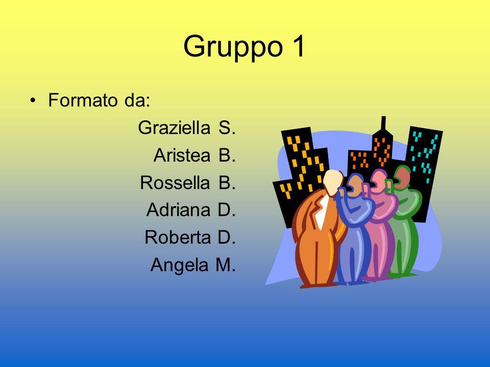 Gruppo 1 Formato da: Graziella S. Aristea B. Rossella B. Adriana D. Roberta D. Angela M.