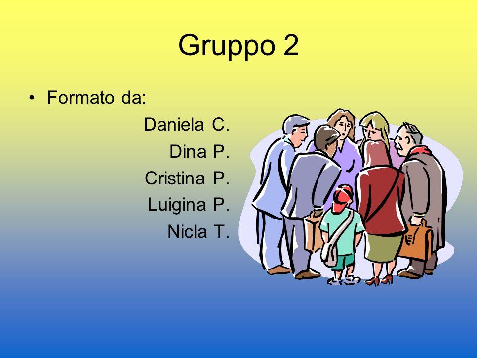 Gruppo 2 Formato da: Daniela C. Dina P. Cristina P. Luigina P. Nicla T.