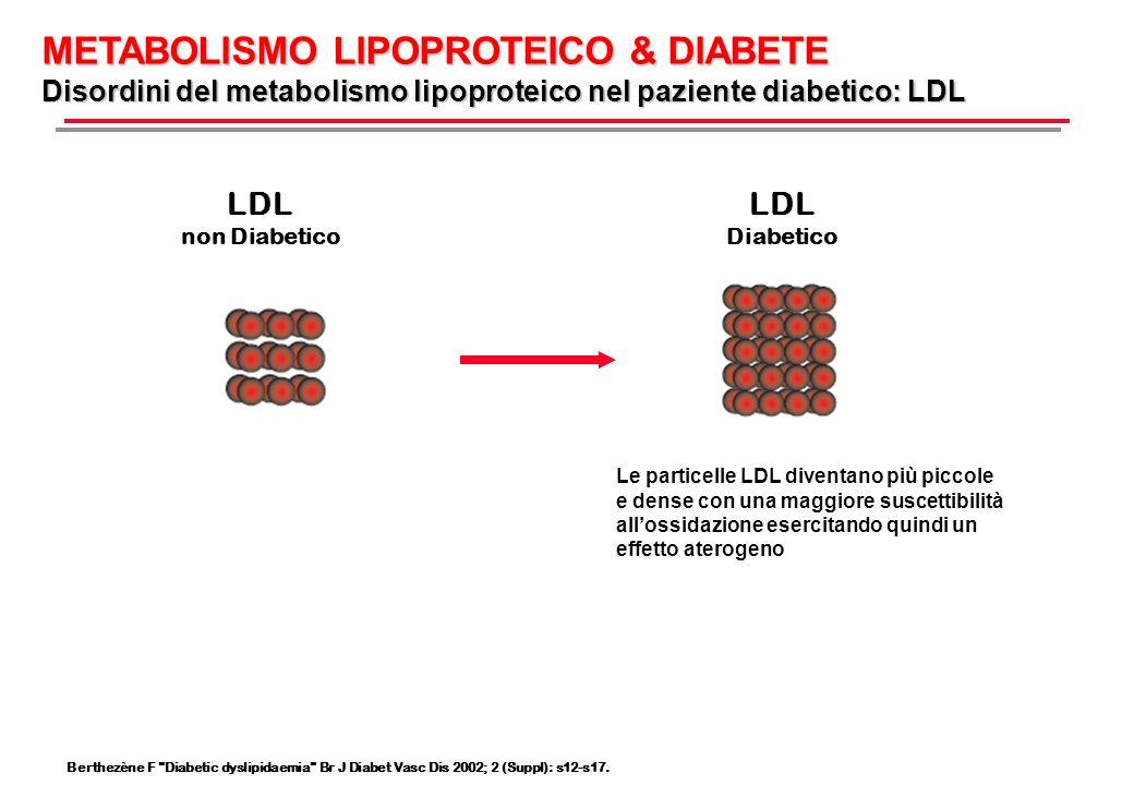 METABOLISMO LIPOPROTEICO & DIABETE Disordini del metabolismo lipoproteico nel paziente diabetico: HDL HDL non Diabetico HDL Diabetico La quantità di particelle HDL è diminuita verificandosi una preponderanza di particelle HDL piccole e dense meno efficienti per il trasporto inverso del colesterolo accelerando il rischio aterosclerotico Rader DJ, Hobbs HH.