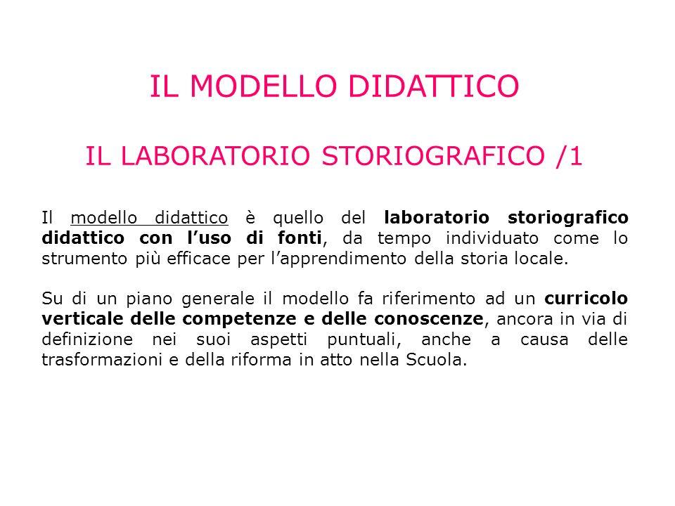 IL MODELLO DIDATTICO IL LABORATORIO STORIOGRAFICO /1 Il modello didattico è quello del laboratorio storiografico didattico con luso di fonti, da tempo individuato come lo strumento più efficace per lapprendimento della storia locale.