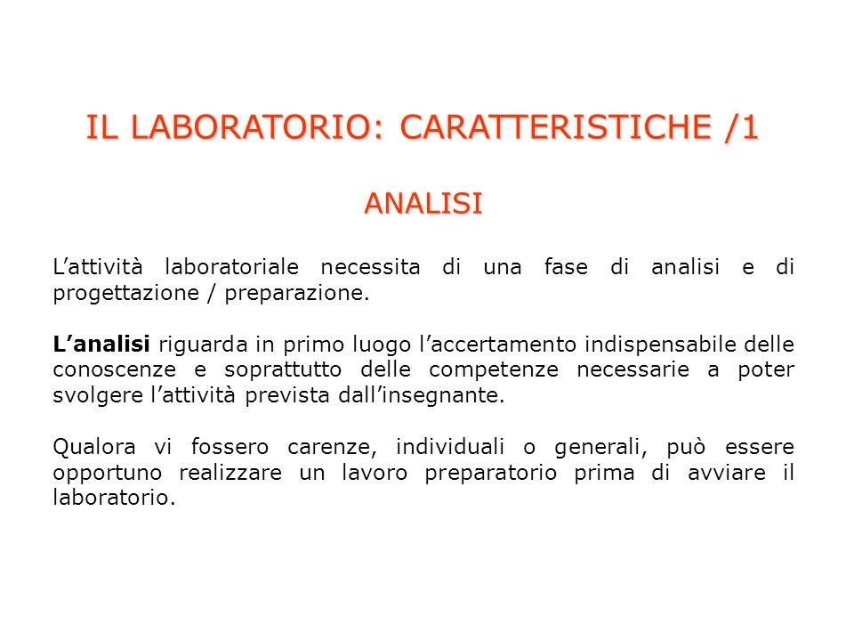 IL LABORATORIO: CARATTERISTICHE /1 ANALISI Lattività laboratoriale necessita di una fase di analisi e di progettazione / preparazione.