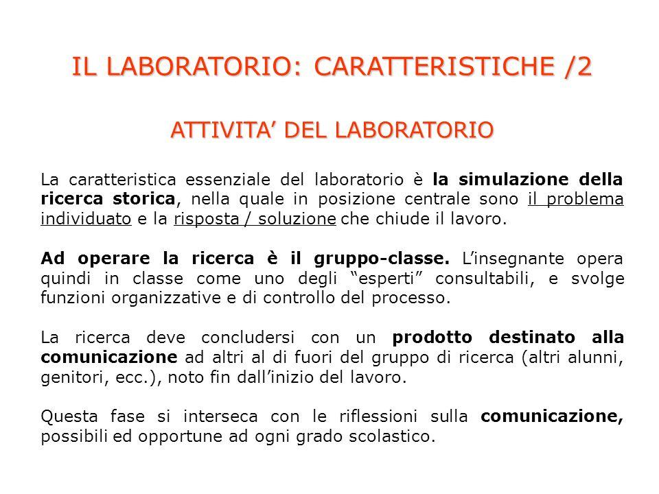 IL LABORATORIO: CARATTERISTICHE /2 ATTIVITA DEL LABORATORIO La caratteristica essenziale del laboratorio è la simulazione della ricerca storica, nella quale in posizione centrale sono il problema individuato e la risposta / soluzione che chiude il lavoro.