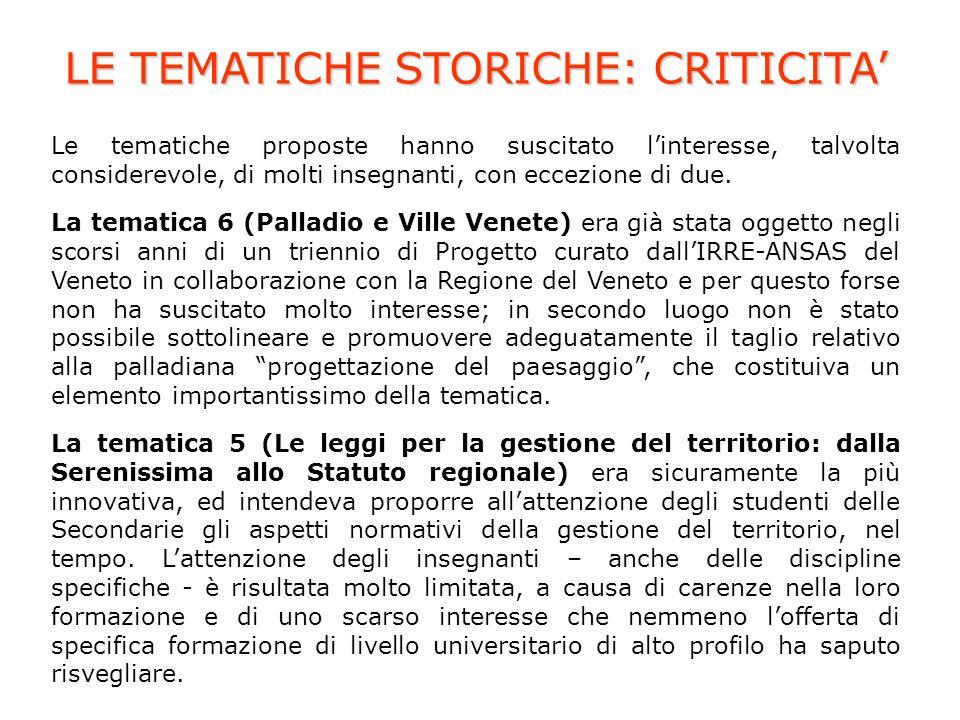 LE TEMATICHE STORICHE: CRITICITA Le tematiche proposte hanno suscitato linteresse, talvolta considerevole, di molti insegnanti, con eccezione di due.
