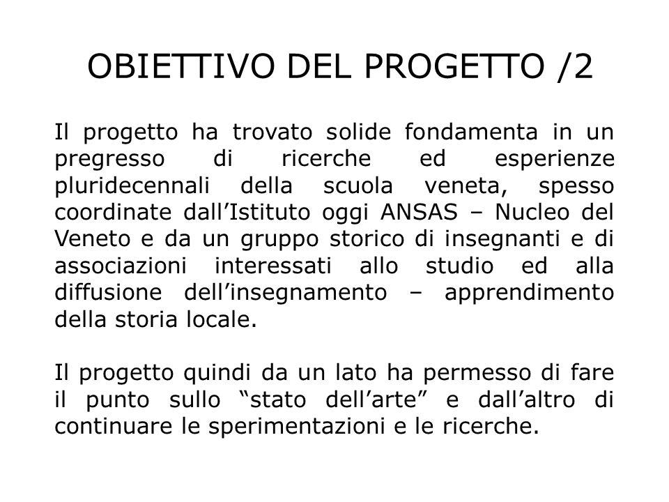 Il progetto pilota è stato realizzato con quattro reti per un totale di 19 scuole in quattro province (Venezia, Treviso, Padova e Vicenza), che hanno realizzato 30 progetti nellarco di un anno scolastico di lavoro (2009/10), susseguente ad una fase organizzativa e progettuale (2008/09).