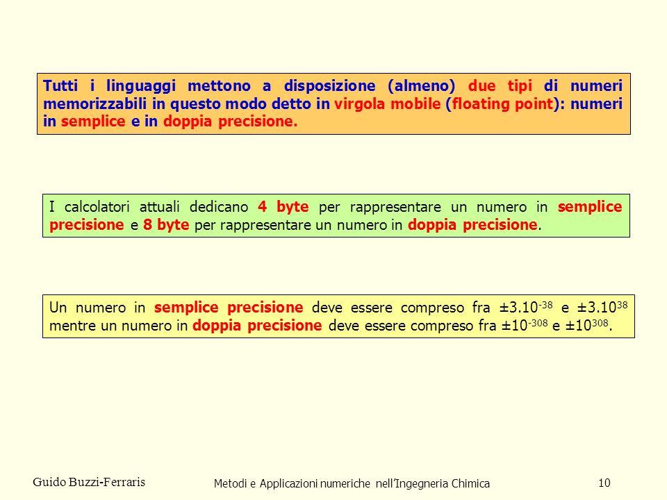 Metodi e Applicazioni numeriche nellIngegneria Chimica 10 Guido Buzzi-Ferraris Tutti i linguaggi mettono a disposizione (almeno) due tipi di numeri me
