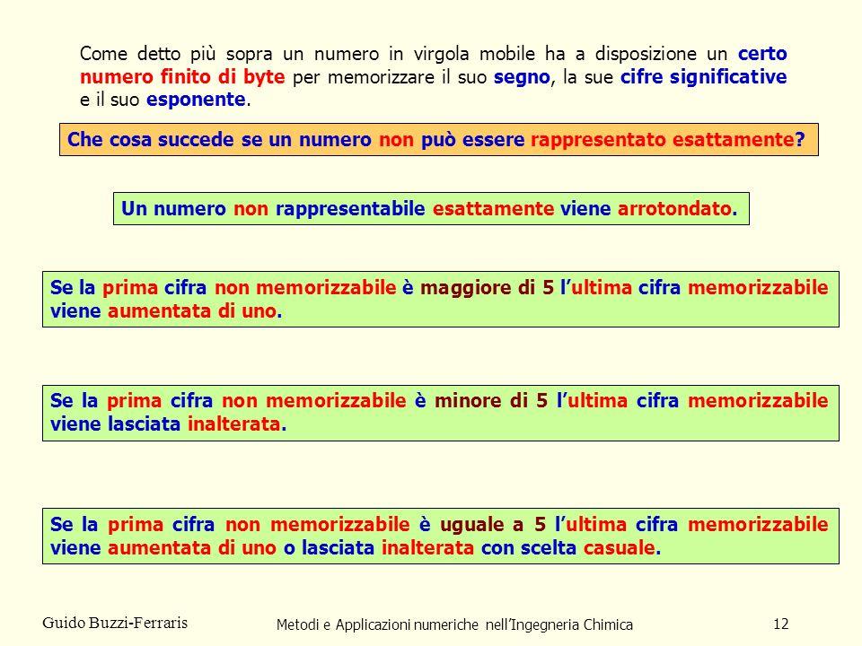 Metodi e Applicazioni numeriche nellIngegneria Chimica 12 Guido Buzzi-Ferraris Che cosa succede se un numero non può essere rappresentato esattamente?