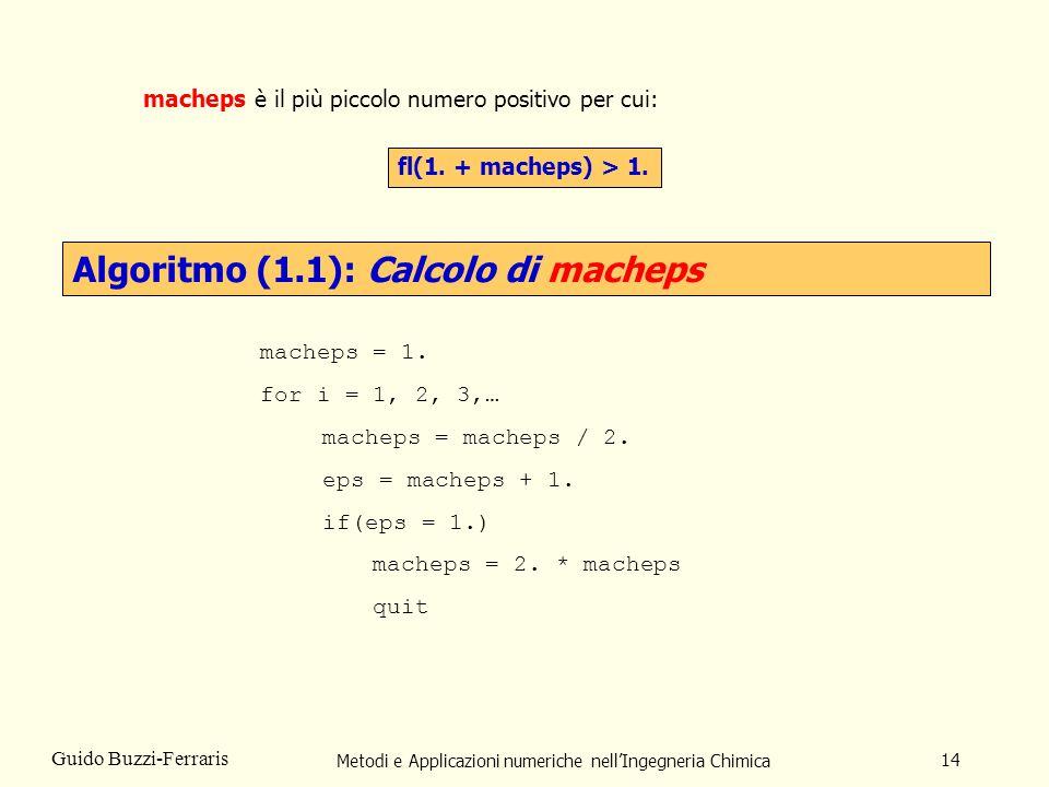 Metodi e Applicazioni numeriche nellIngegneria Chimica 14 Guido Buzzi-Ferraris macheps è il più piccolo numero positivo per cui: fl(1. + macheps) > 1.