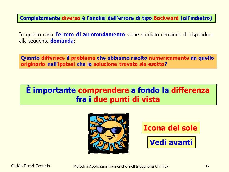Metodi e Applicazioni numeriche nellIngegneria Chimica 19 Guido Buzzi-Ferraris Completamente diversa è lanalisi dellerrore di tipo Backward (allindiet