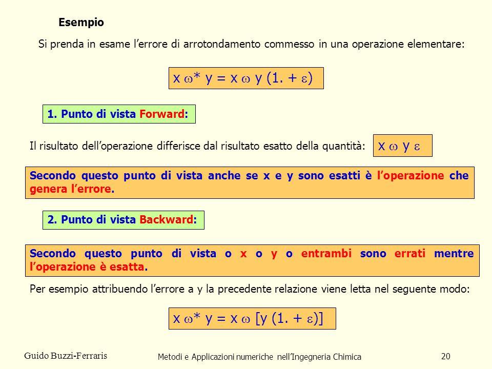 Metodi e Applicazioni numeriche nellIngegneria Chimica 20 Guido Buzzi-Ferraris Esempio Si prenda in esame lerrore di arrotondamento commesso in una op