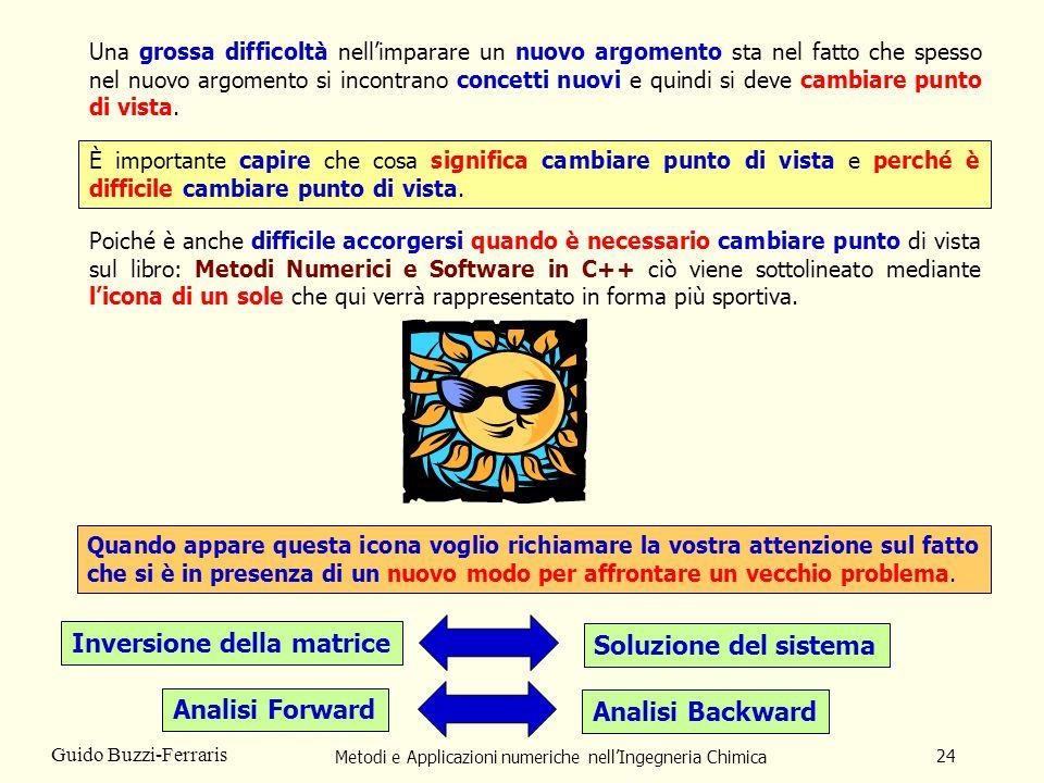 Metodi e Applicazioni numeriche nellIngegneria Chimica 24 Guido Buzzi-Ferraris Una grossa difficoltà nellimparare un nuovo argomento sta nel fatto che