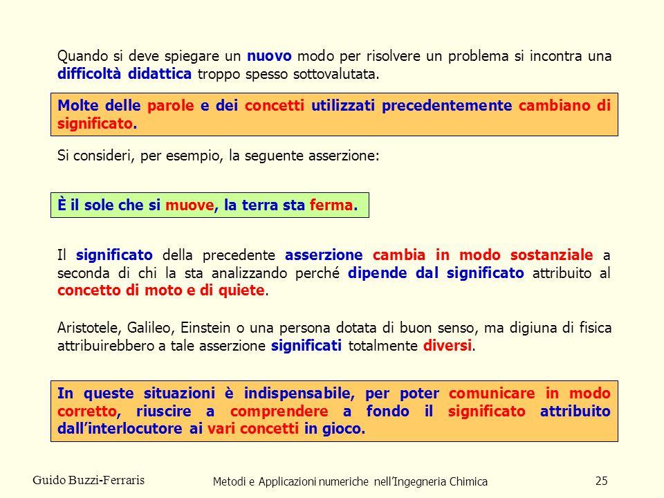 Metodi e Applicazioni numeriche nellIngegneria Chimica 25 Guido Buzzi-Ferraris Quando si deve spiegare un nuovo modo per risolvere un problema si inco