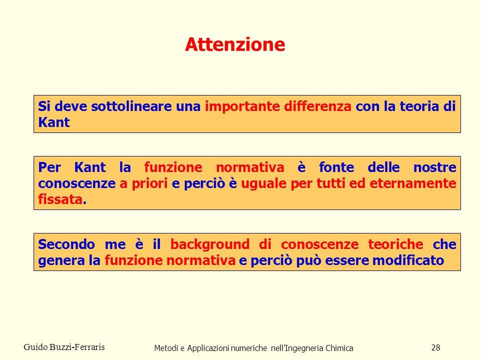 Metodi e Applicazioni numeriche nellIngegneria Chimica 28 Guido Buzzi-Ferraris Si deve sottolineare una importante differenza con la teoria di Kant At