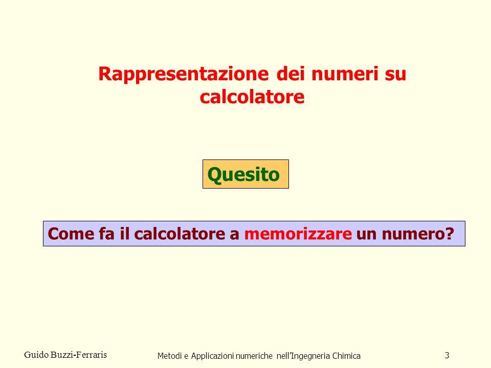 Metodi e Applicazioni numeriche nellIngegneria Chimica 3 Guido Buzzi-Ferraris Rappresentazione dei numeri su calcolatore Quesito Come fa il calcolator