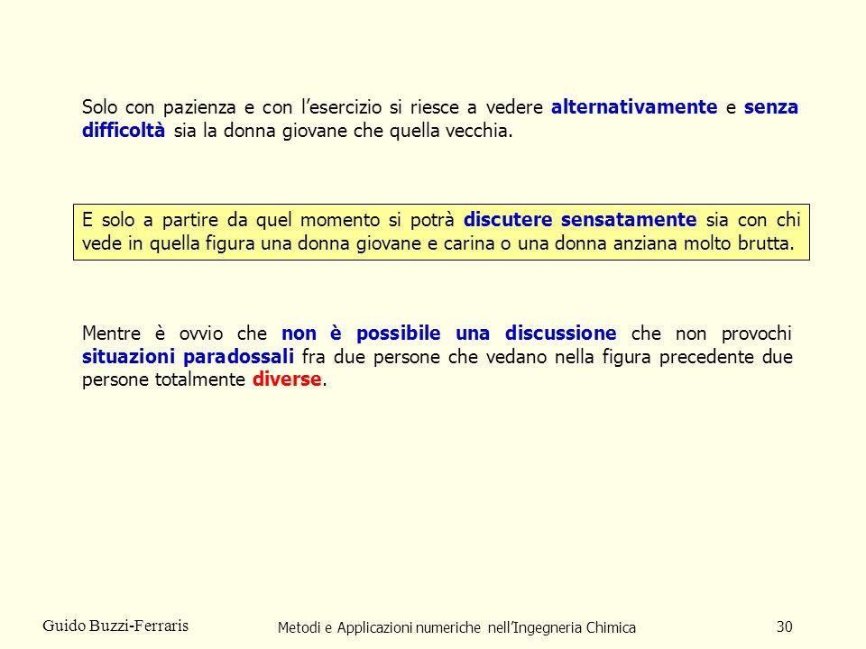 Metodi e Applicazioni numeriche nellIngegneria Chimica 30 Guido Buzzi-Ferraris Solo con pazienza e con lesercizio si riesce a vedere alternativamente
