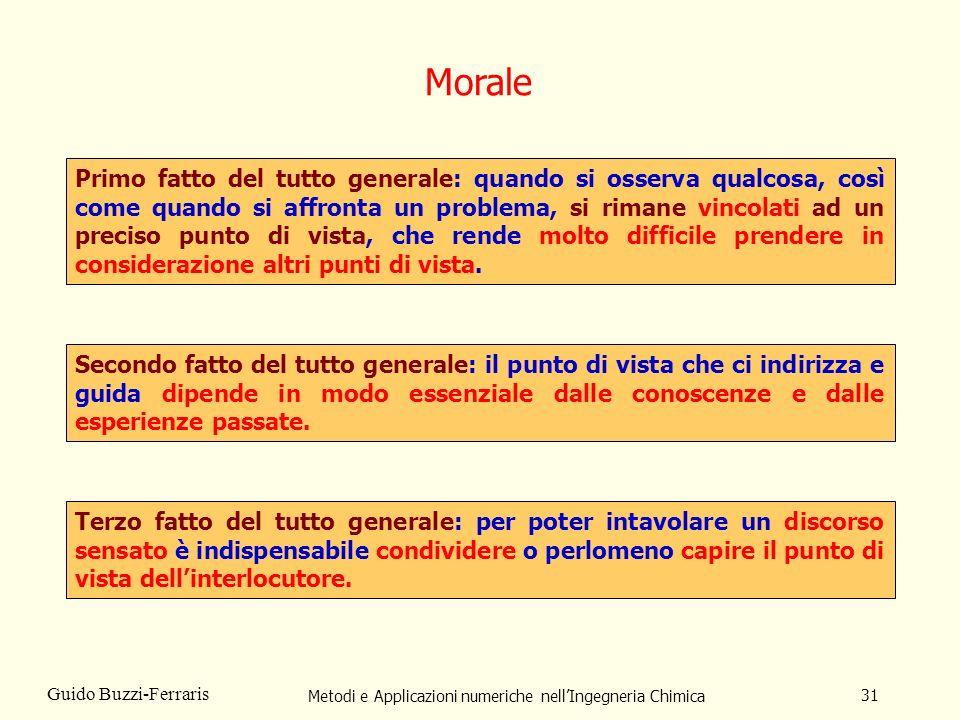 Metodi e Applicazioni numeriche nellIngegneria Chimica 31 Guido Buzzi-Ferraris Primo fatto del tutto generale: quando si osserva qualcosa, così come q