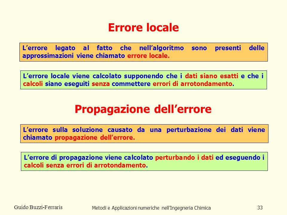 Metodi e Applicazioni numeriche nellIngegneria Chimica 33 Guido Buzzi-Ferraris Errore locale Lerrore legato al fatto che nellalgoritmo sono presenti d