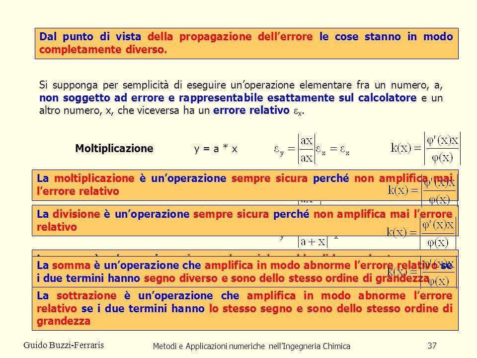 Metodi e Applicazioni numeriche nellIngegneria Chimica 37 Guido Buzzi-Ferraris Dal punto di vista della propagazione dellerrore le cose stanno in modo