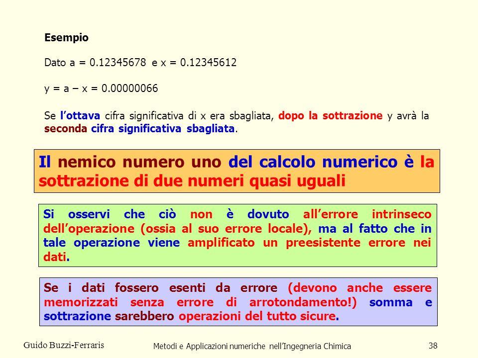 Metodi e Applicazioni numeriche nellIngegneria Chimica 38 Guido Buzzi-Ferraris Esempio Dato a = 0.12345678 e x = 0.12345612 y = a – x = 0.00000066 Se