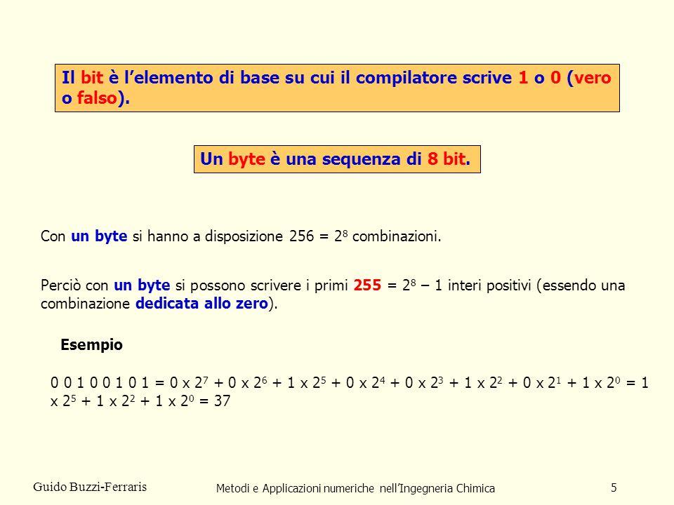 Metodi e Applicazioni numeriche nellIngegneria Chimica 5 Guido Buzzi-Ferraris Il bit è lelemento di base su cui il compilatore scrive 1 o 0 (vero o fa