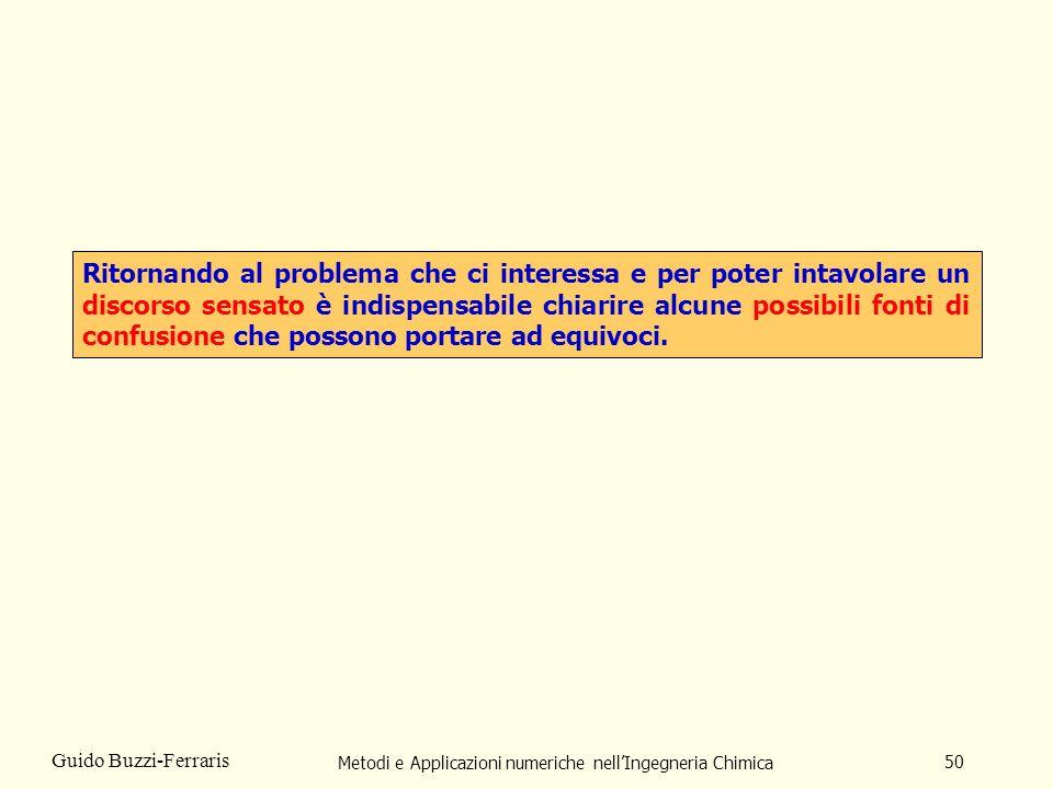Metodi e Applicazioni numeriche nellIngegneria Chimica 50 Guido Buzzi-Ferraris Ritornando al problema che ci interessa e per poter intavolare un disco