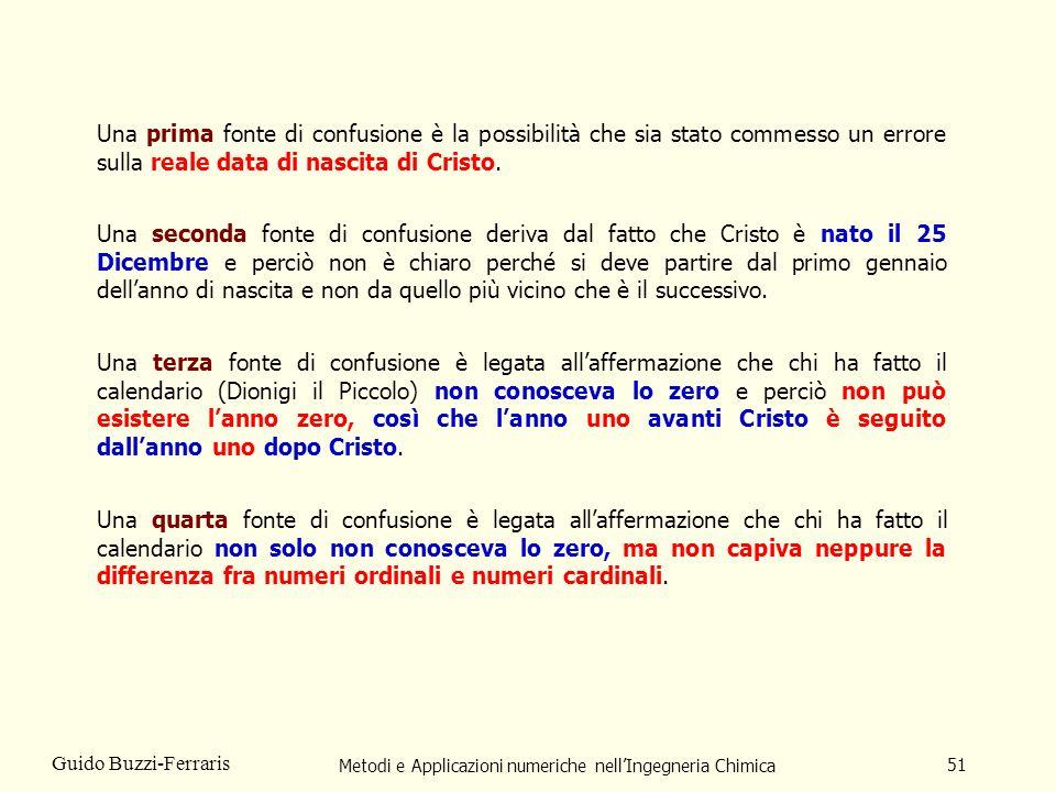 Metodi e Applicazioni numeriche nellIngegneria Chimica 51 Guido Buzzi-Ferraris Una prima fonte di confusione è la possibilità che sia stato commesso u
