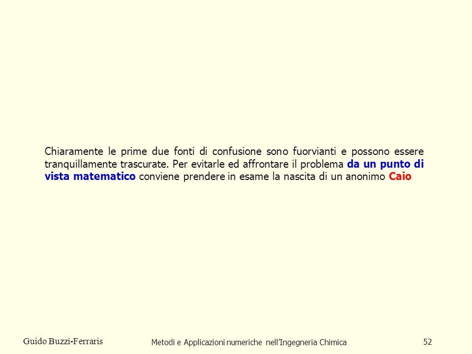 Metodi e Applicazioni numeriche nellIngegneria Chimica 52 Guido Buzzi-Ferraris Chiaramente le prime due fonti di confusione sono fuorvianti e possono