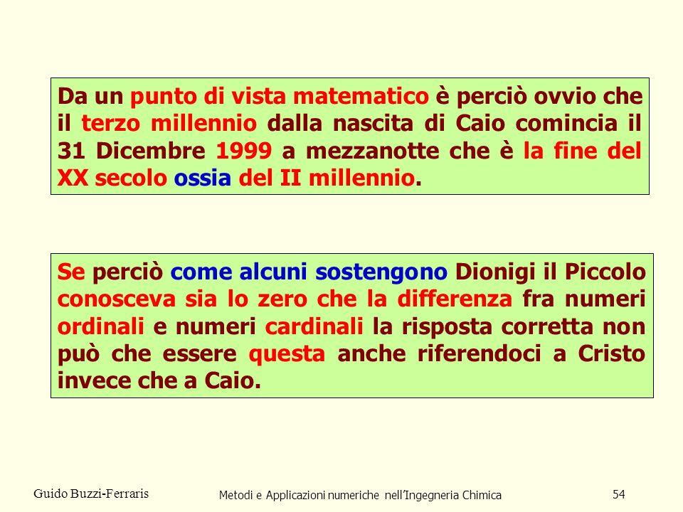 Metodi e Applicazioni numeriche nellIngegneria Chimica 54 Guido Buzzi-Ferraris Da un punto di vista matematico è perciò ovvio che il terzo millennio d