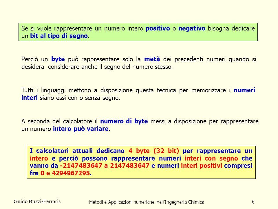 Metodi e Applicazioni numeriche nellIngegneria Chimica 6 Guido Buzzi-Ferraris Se si vuole rappresentare un numero intero positivo o negativo bisogna d