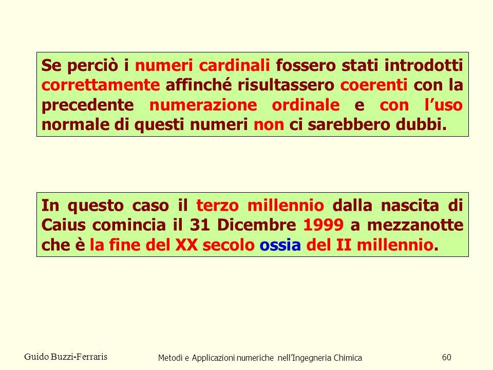 Metodi e Applicazioni numeriche nellIngegneria Chimica 60 Guido Buzzi-Ferraris Se perciò i numeri cardinali fossero stati introdotti correttamente aff